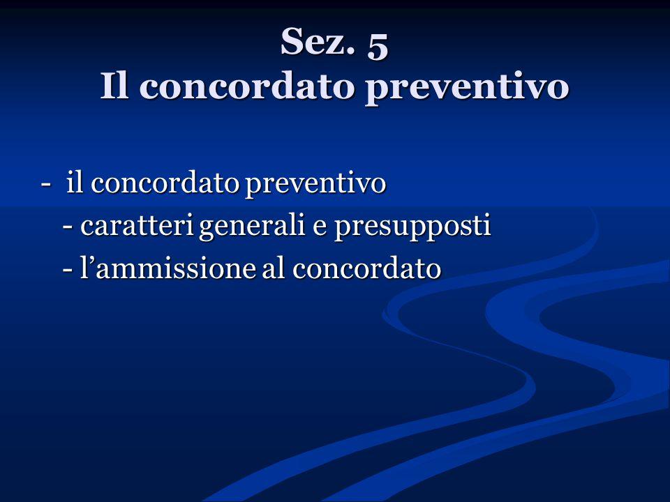 Sez. 5 Il concordato preventivo