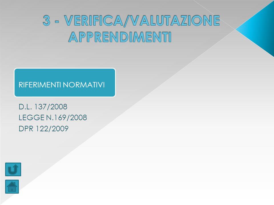 3 - VERIFICA/VALUTAZIONE APPRENDIMENTI