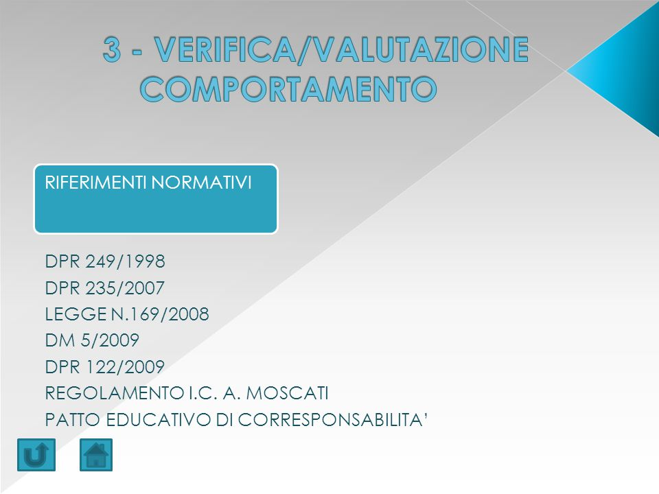 3 - VERIFICA/VALUTAZIONE COMPORTAMENTO