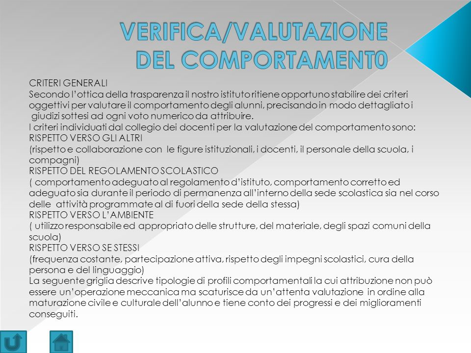 VERIFICA/VALUTAZIONE DEL COMPORTAMENT0