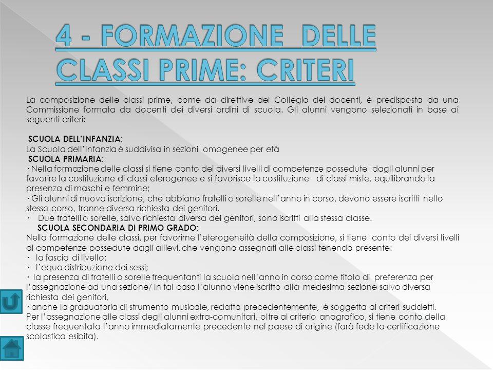 4 - FORMAZIONE DELLE CLASSI PRIME: CRITERI