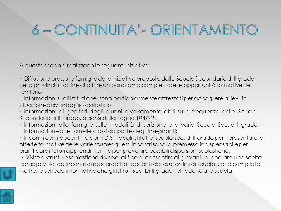 6 – CONTINUITA'- ORIENTAMENTO