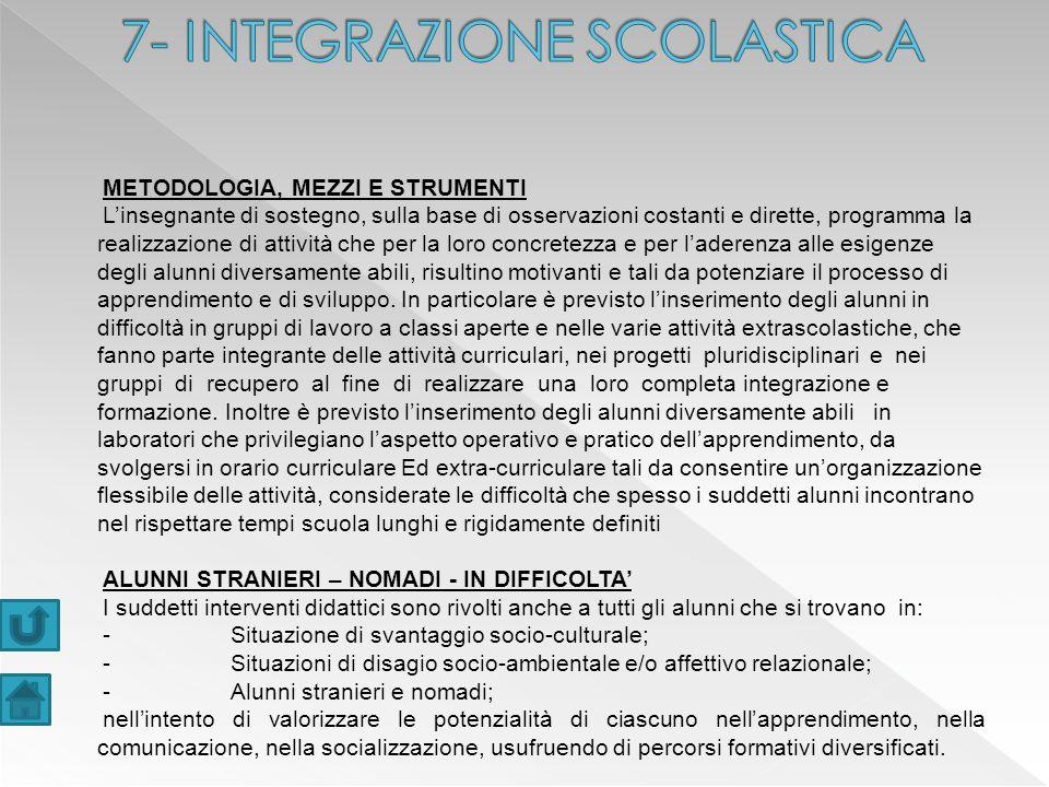 7- INTEGRAZIONE SCOLASTICA