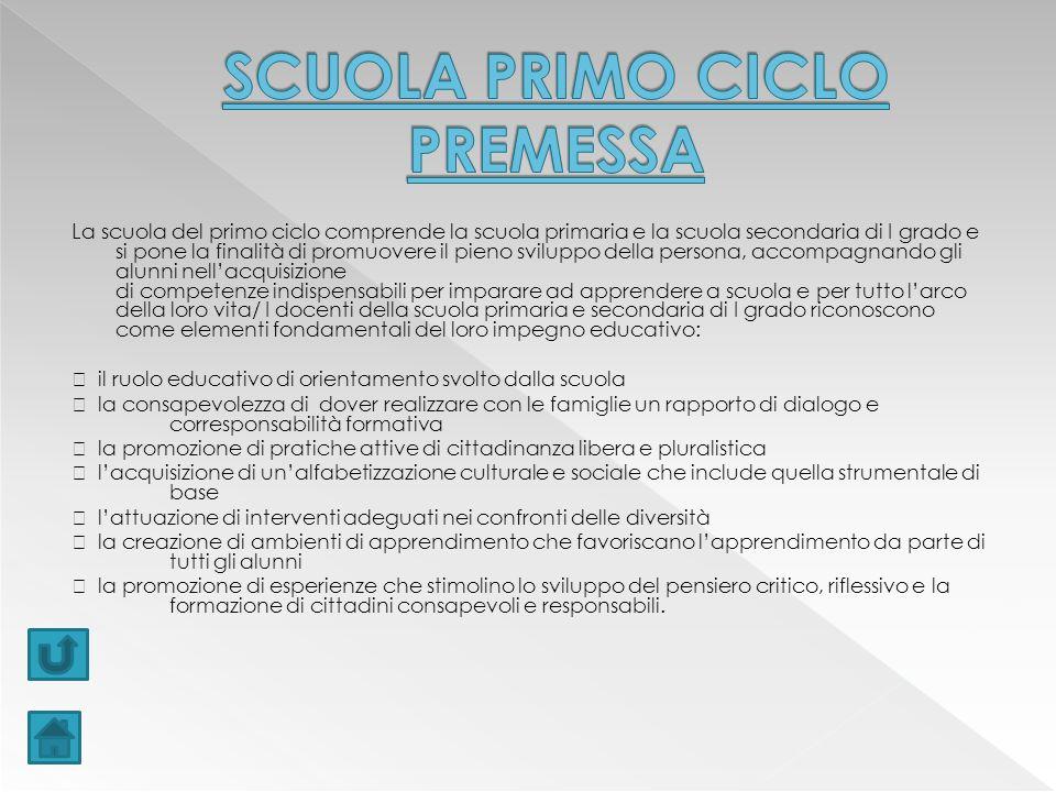 SCUOLA PRIMO CICLO PREMESSA