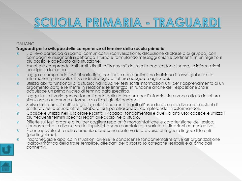 SCUOLA PRIMARIA - TRAGUARDI