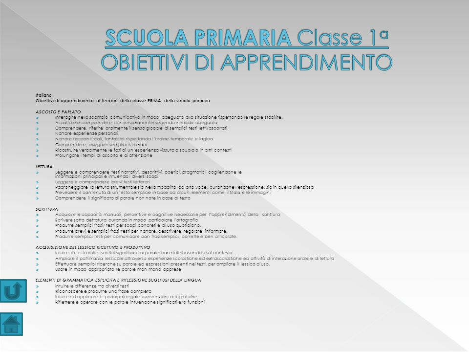 SCUOLA PRIMARIA Classe 1a OBIETTIVI DI APPRENDIMENTO