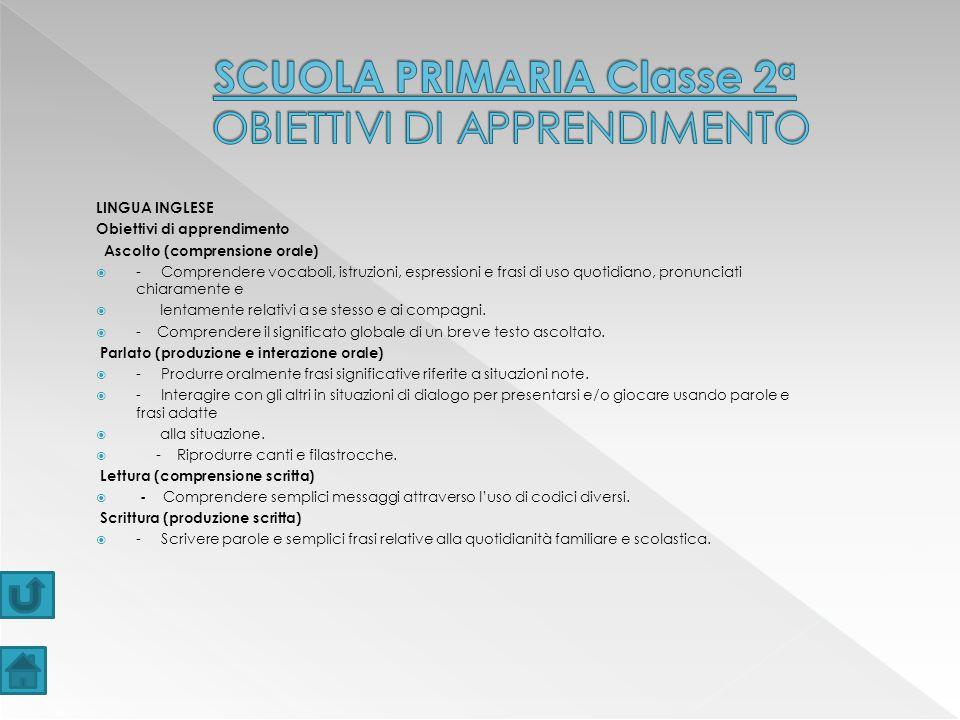 SCUOLA PRIMARIA Classe 2a OBIETTIVI DI APPRENDIMENTO