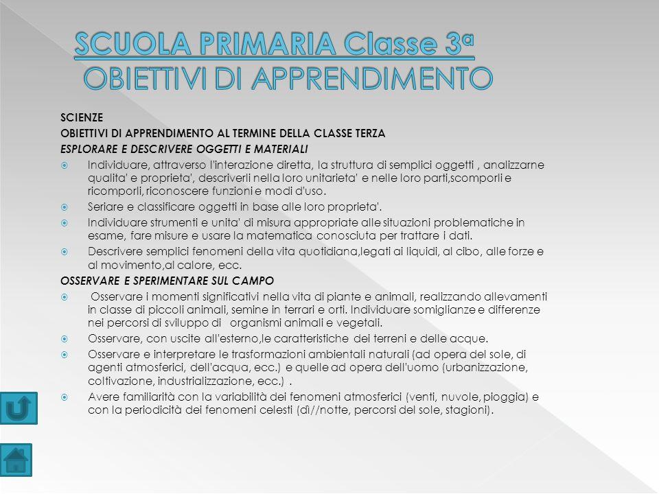 SCUOLA PRIMARIA Classe 3a OBIETTIVI DI APPRENDIMENTO