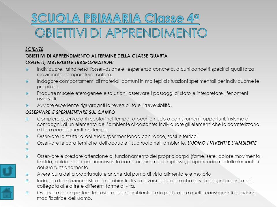 SCUOLA PRIMARIA Classe 4a OBIETTIVI DI APPRENDIMENTO