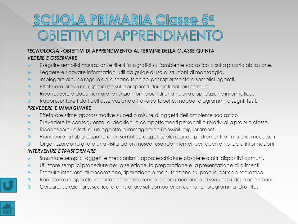 SCUOLA PRIMARIA Classe 5a OBIETTIVI DI APPRENDIMENTO