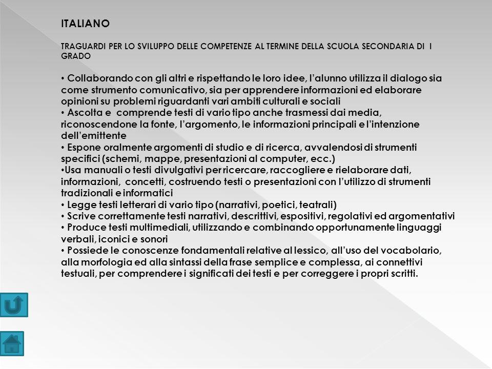 ITALIANO TRAGUARDI PER LO SVILUPPO DELLE COMPETENZE AL TERMINE DELLA SCUOLA SECONDARIA DI I GRADO.