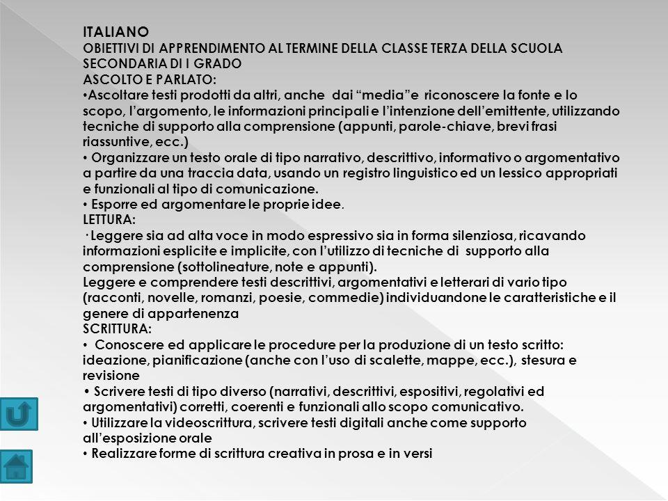 ITALIANO OBIETTIVI DI APPRENDIMENTO AL TERMINE DELLA CLASSE TERZA DELLA SCUOLA SECONDARIA DI I GRADO.