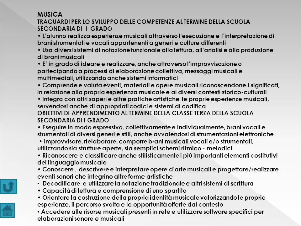 MUSICA TRAGUARDI PER LO SVILUPPO DELLE COMPETENZE AL TERMINE DELLA SCUOLA SECONDARIA DI I GRADO.
