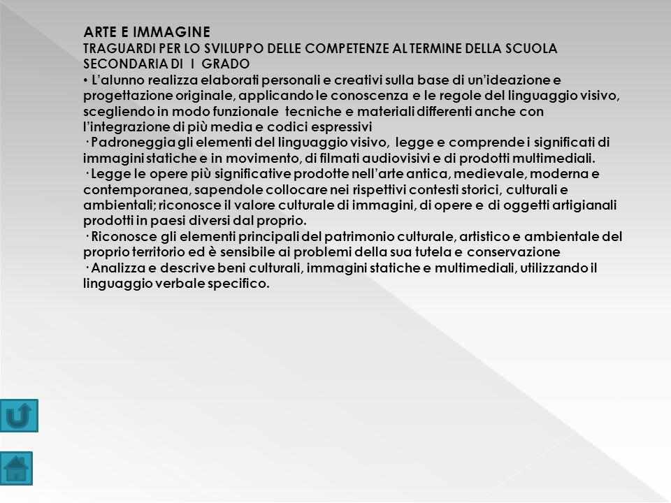ARTE E IMMAGINE TRAGUARDI PER LO SVILUPPO DELLE COMPETENZE AL TERMINE DELLA SCUOLA SECONDARIA DI I GRADO.