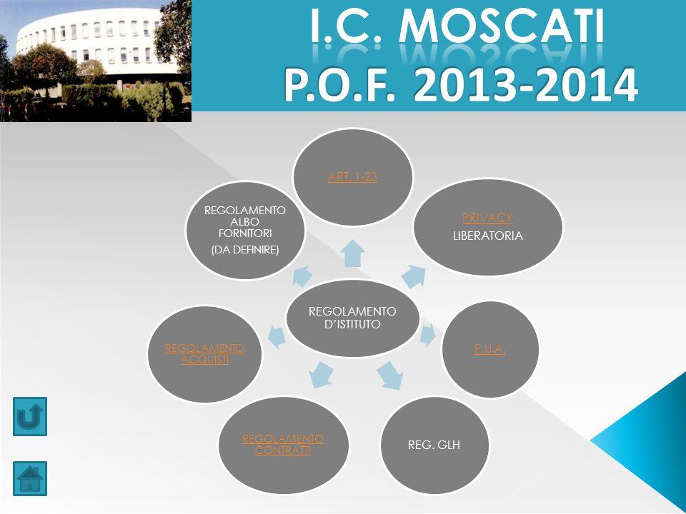 I.C. MOSCATI P.O.F. 2013-2014 REGOLAMENTO D'ISTITUTO ART. 1-23 PRIVACY