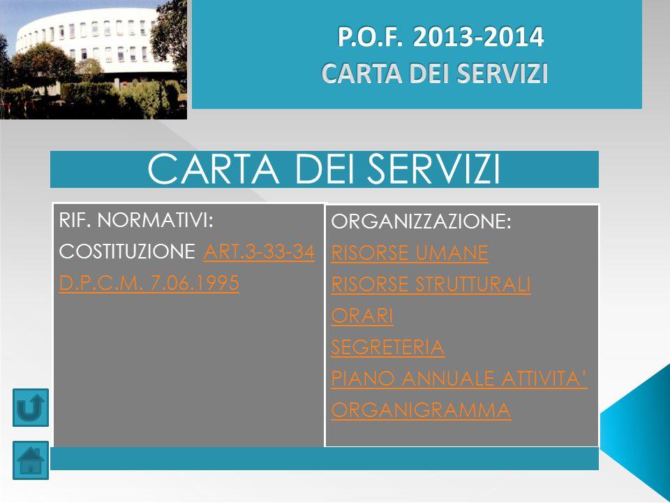CARTA DEI SERVIZI P.O.F. 2013-2014 CARTA DEI SERVIZI