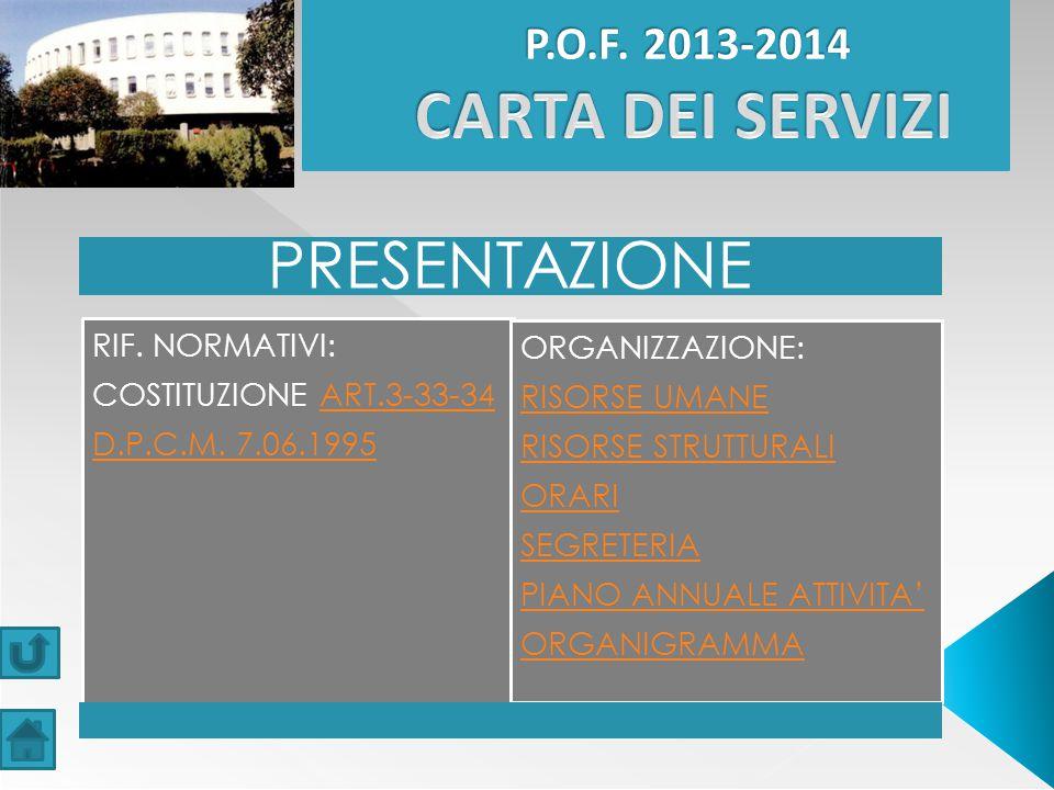 PRESENTAZIONE P.O.F. 2013-2014 CARTA DEI SERVIZI D.P.C.M. 7.06.1995