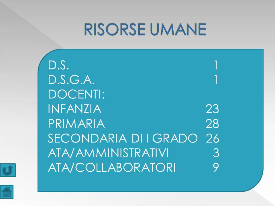 RISORSE UMANE D.S. 1 D.S.G.A. 1 DOCENTI: INFANZIA 23 PRIMARIA 28