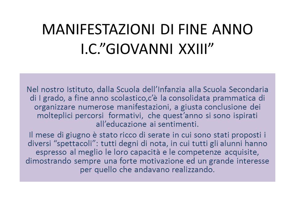 MANIFESTAZIONI DI FINE ANNO I.C. GIOVANNI XXIII