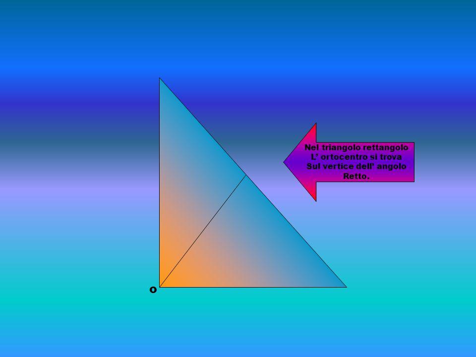 o Nel triangolo rettangolo L' ortocentro si trova