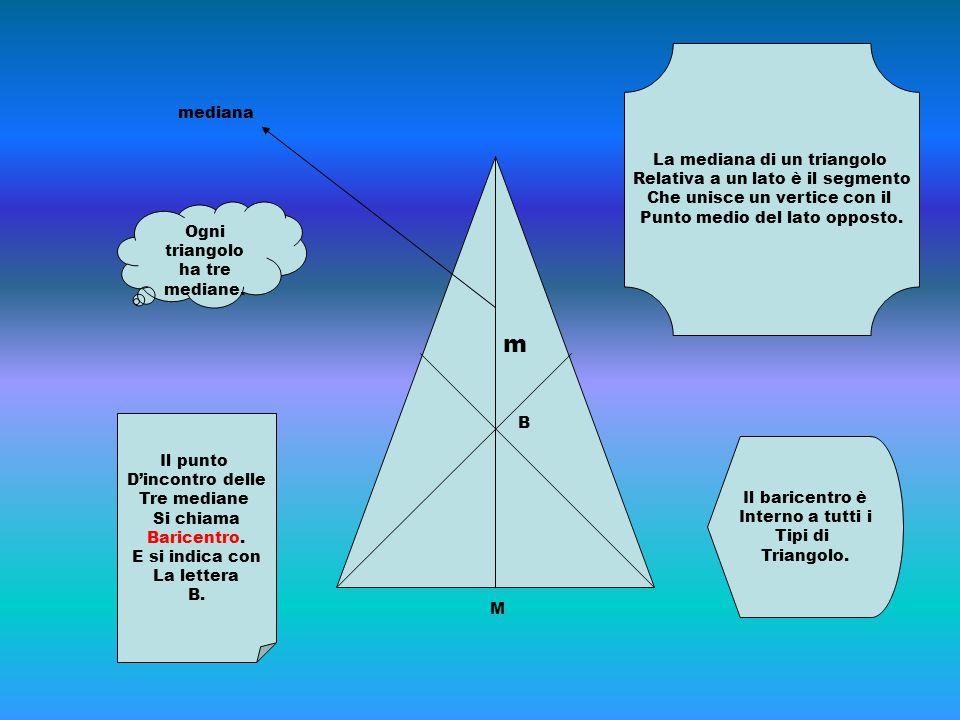 m La mediana di un triangolo mediana Relativa a un lato è il segmento