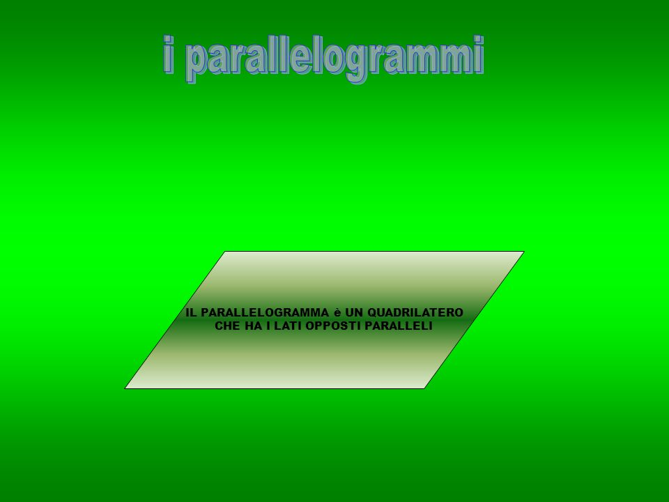 i parallelogrammi IL PARALLELOGRAMMA è UN QUADRILATERO