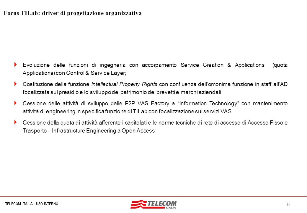 Focus TILab: Assetto organizzativo: mission (D.O. 18 marzo 2008)