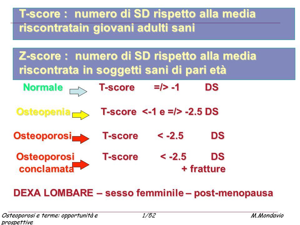 Normale T-score =/> -1 DS