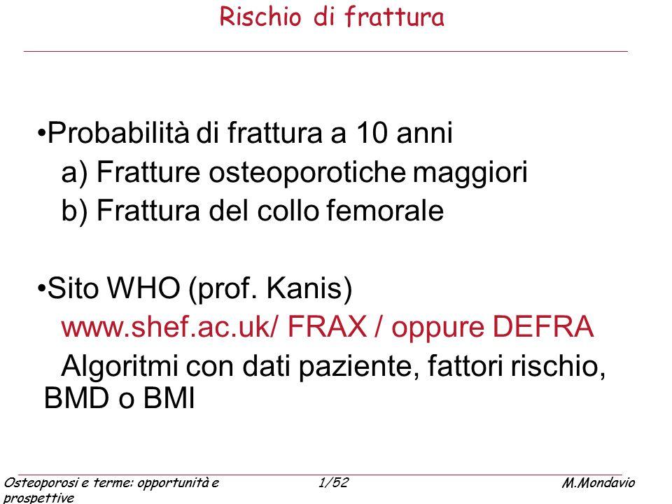 Probabilità di frattura a 10 anni a) Fratture osteoporotiche maggiori