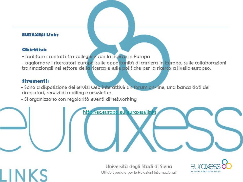 EURAXESS Links Obiettivi: - facilitare i contatti tra colleghi e con la ricerca in Europa.