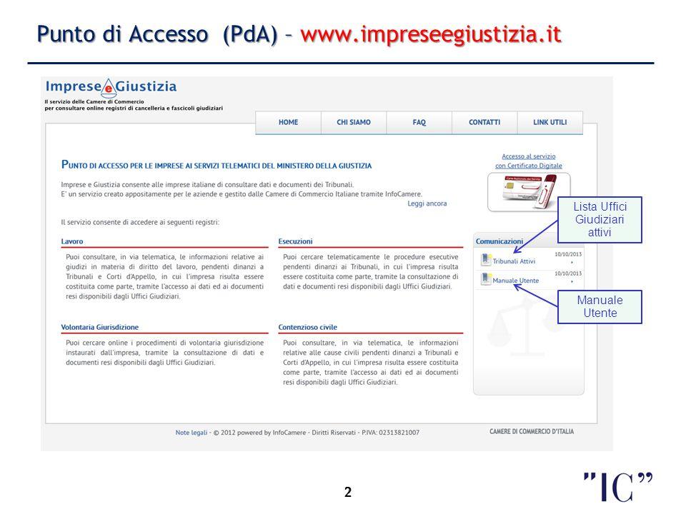 Punto di Accesso (PdA) – www.impreseegiustizia.it