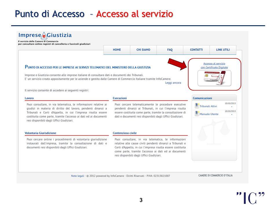 Punto di Accesso – Accesso al servizio