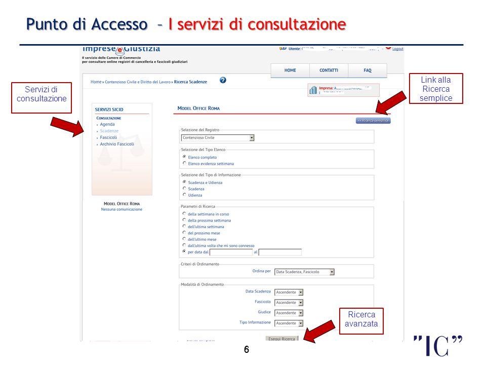 Punto di Accesso – I servizi di consultazione