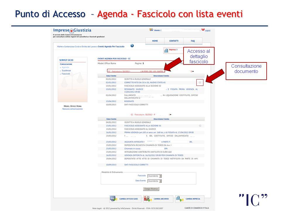 Punto di Accesso – Agenda - Fascicolo con lista eventi