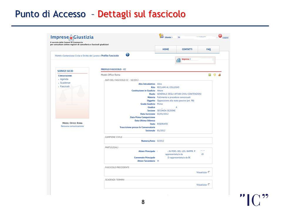 Punto di Accesso – Dettagli sul fascicolo