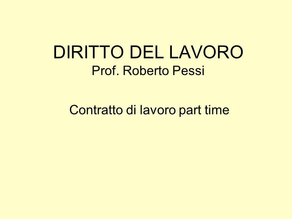 DIRITTO DEL LAVORO Prof. Roberto Pessi