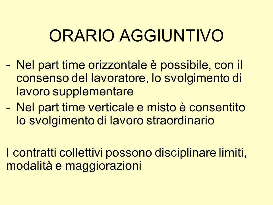 ORARIO AGGIUNTIVO Nel part time orizzontale è possibile, con il consenso del lavoratore, lo svolgimento di lavoro supplementare.