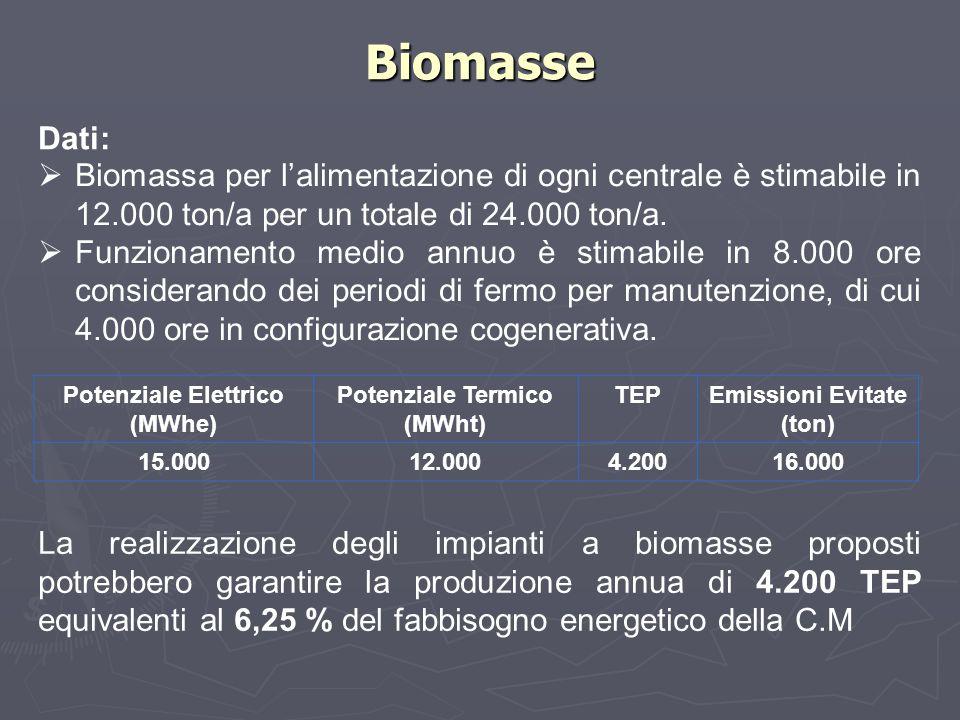 Biomasse Dati: Biomassa per l'alimentazione di ogni centrale è stimabile in 12.000 ton/a per un totale di 24.000 ton/a.