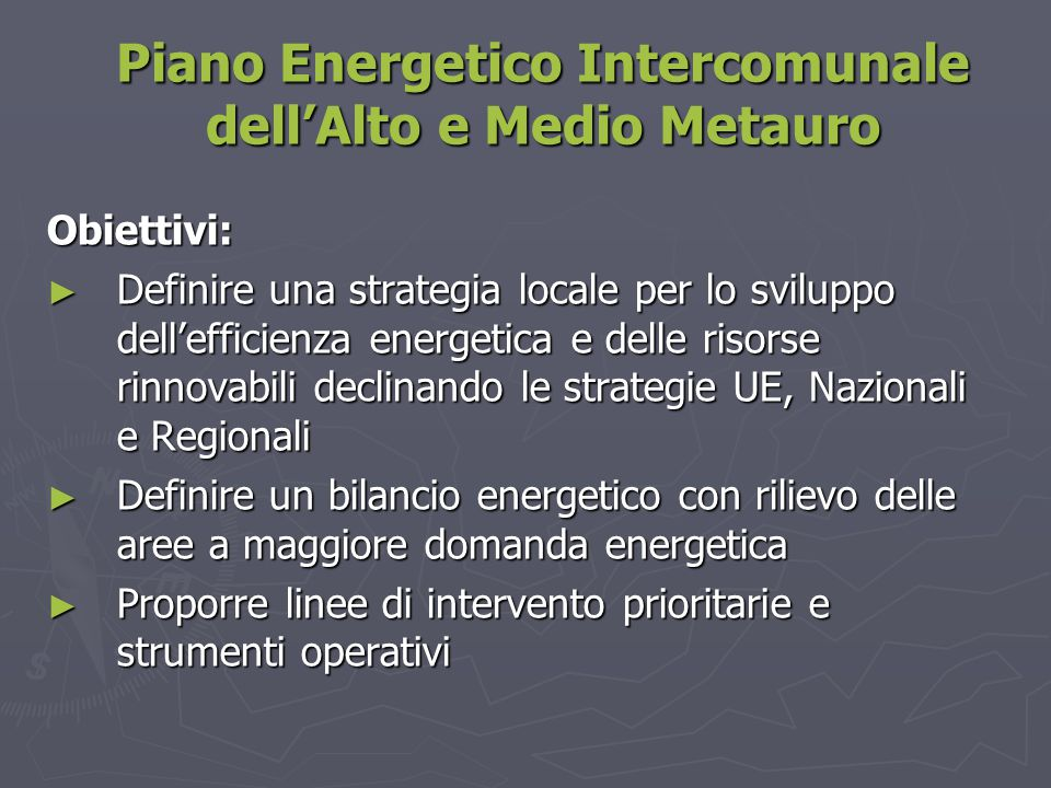 Piano Energetico Intercomunale dell'Alto e Medio Metauro