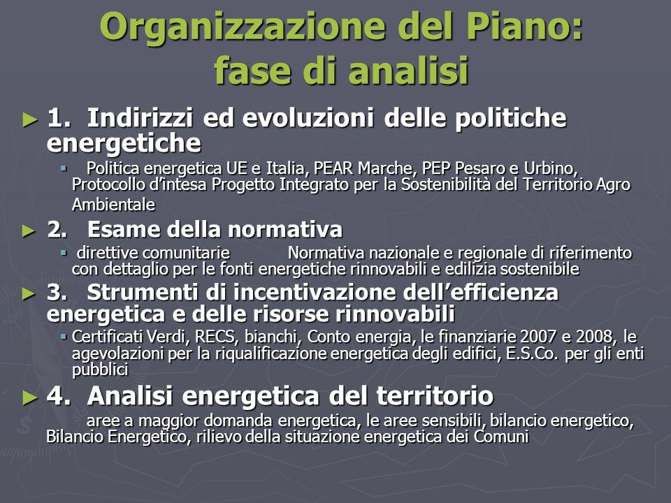 Organizzazione del Piano: fase di analisi