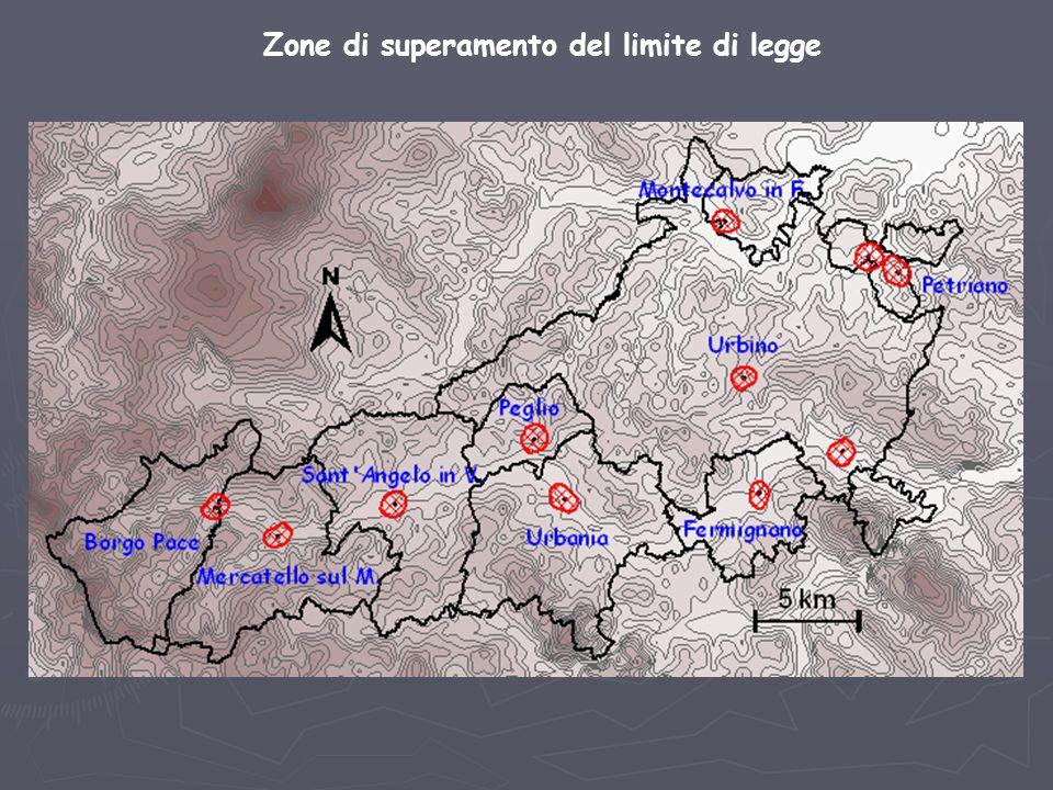 Zone di superamento del limite di legge