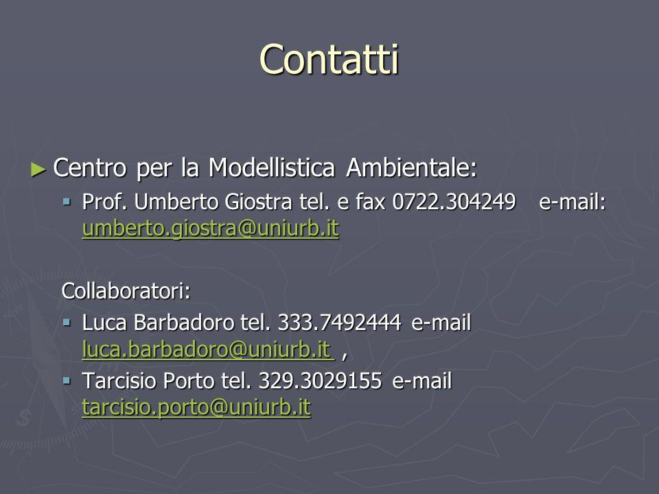 Contatti Centro per la Modellistica Ambientale: