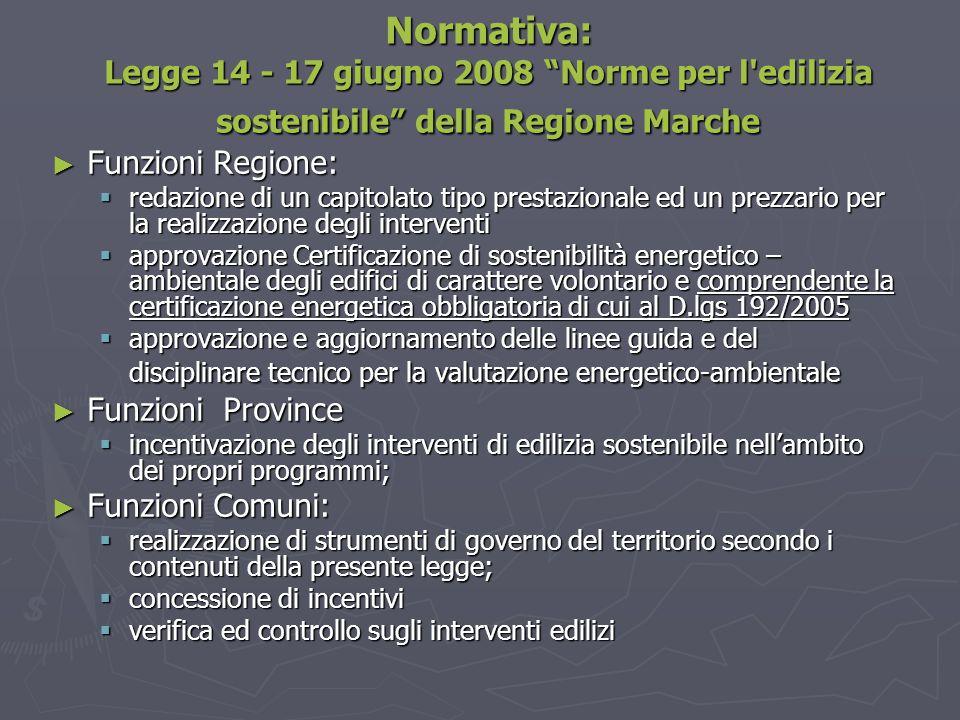 Normativa: Legge 14 - 17 giugno 2008 Norme per l edilizia sostenibile della Regione Marche