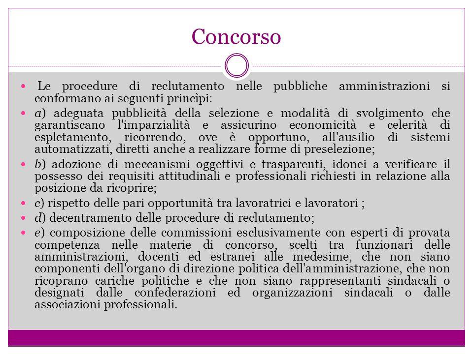 Concorso Le procedure di reclutamento nelle pubbliche amministrazioni si conformano ai seguenti princìpi: