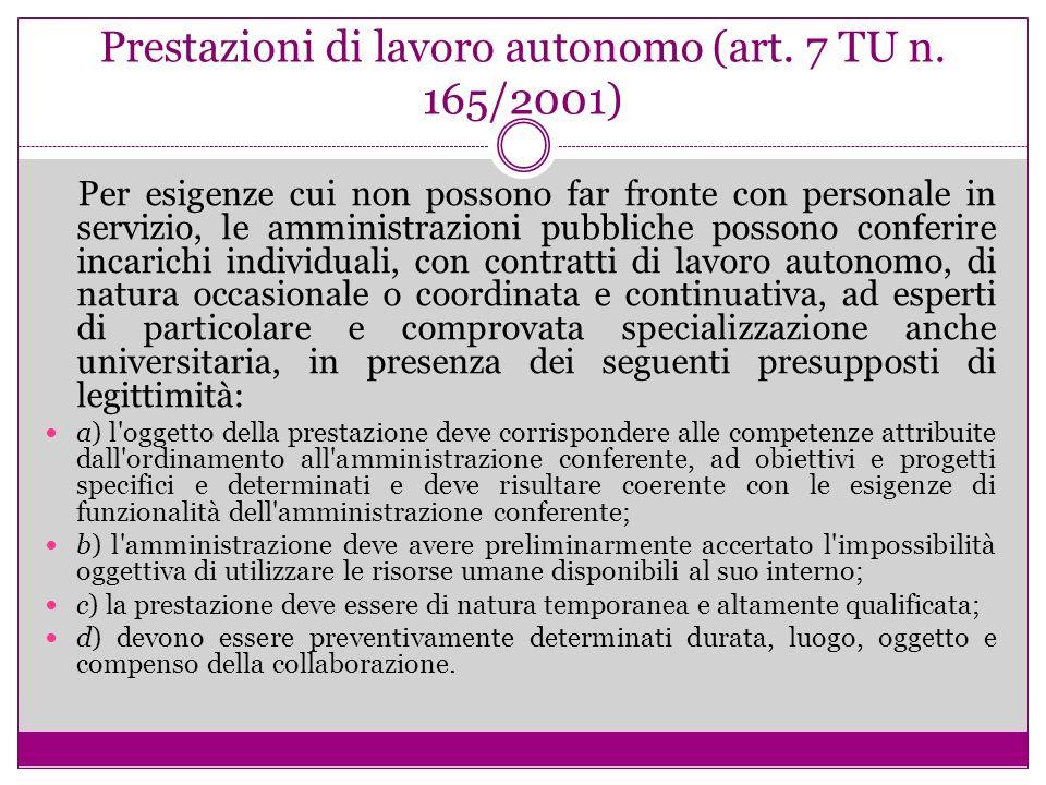 Prestazioni di lavoro autonomo (art. 7 TU n. 165/2001)
