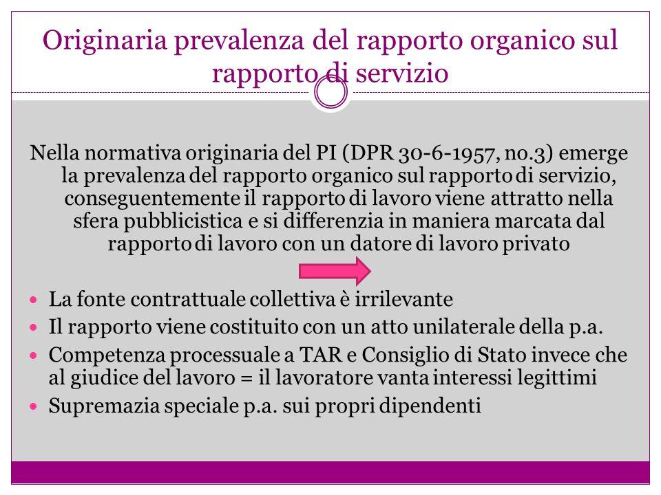 Originaria prevalenza del rapporto organico sul rapporto di servizio