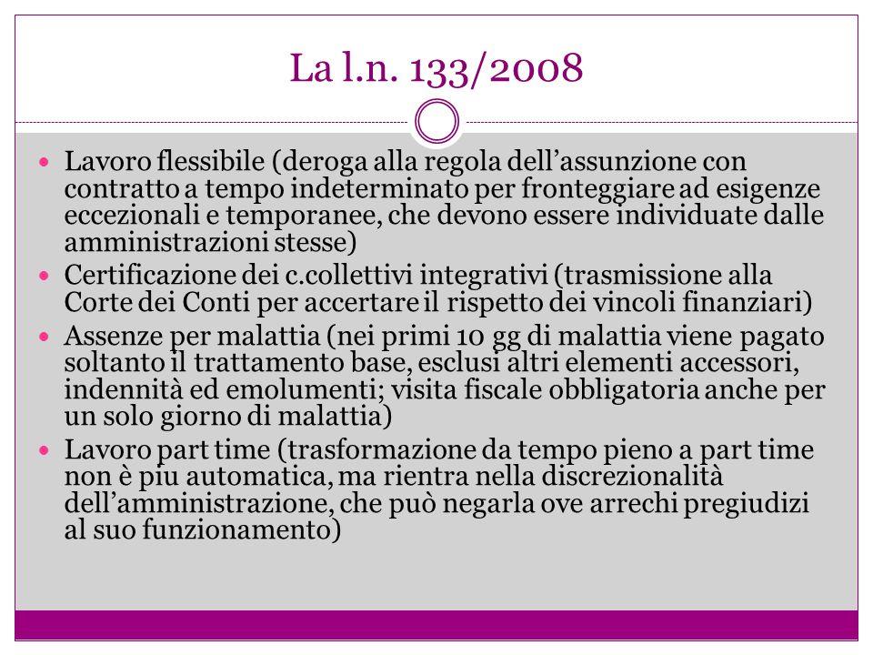 La l.n. 133/2008