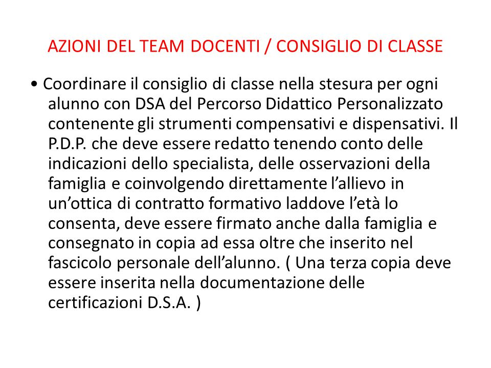 AZIONI DEL TEAM DOCENTI / CONSIGLIO DI CLASSE