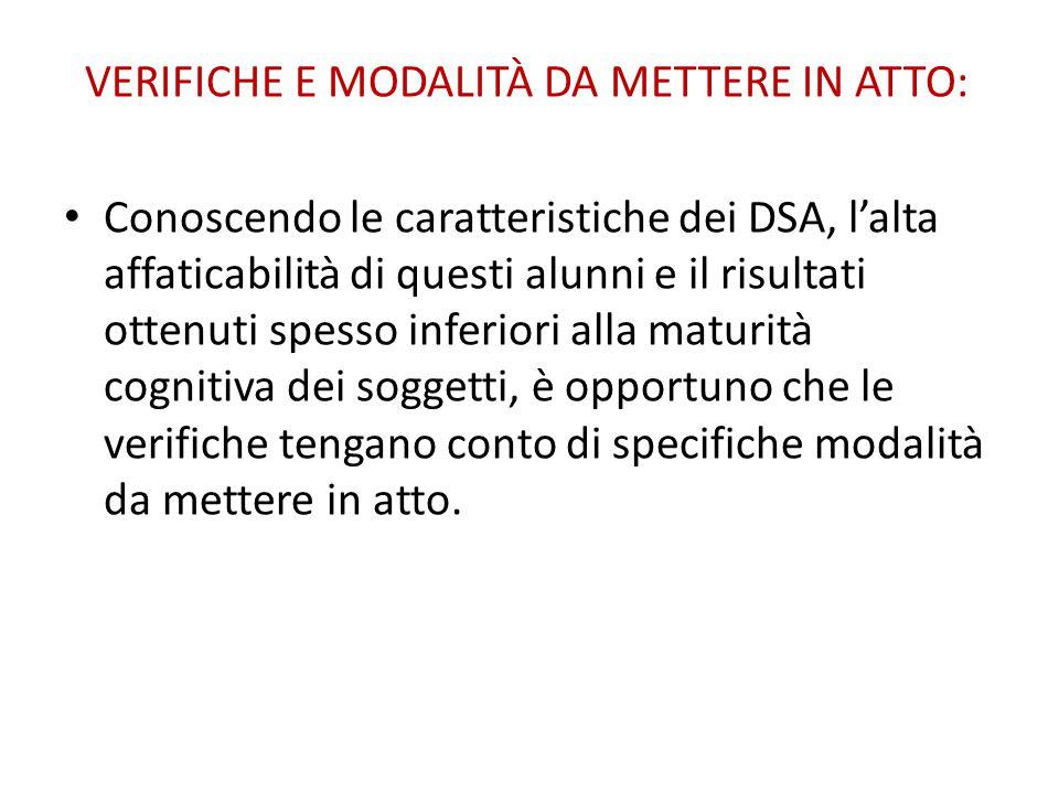 VERIFICHE E MODALITÀ DA METTERE IN ATTO: