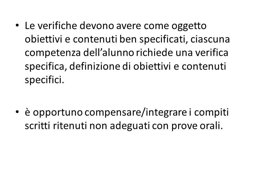 Le verifiche devono avere come oggetto obiettivi e contenuti ben specificati, ciascuna competenza dell'alunno richiede una verifica specifica, definizione di obiettivi e contenuti specifici.